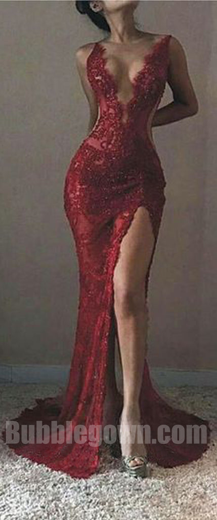 Sexy Red Llace Mermaid Side Split Deep V Neck Long Prom Dress, BGP060