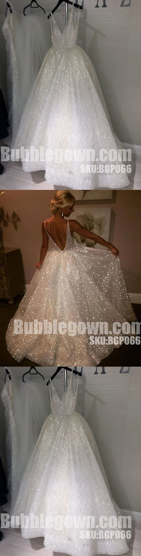 Sparkle V Neck Elegant V Back Best Sale Evening Long Prom Dress, BGP066