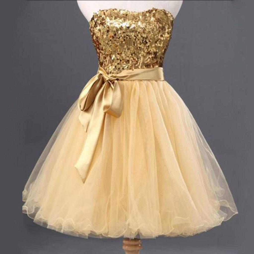Gold Sequin Shinning Popular Short Cute Homecoming Dresses, BG51439 - Bubble Gown