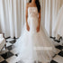 A-line Strapless Applique Organza Bridal Long Wedding Dresses, BGH012