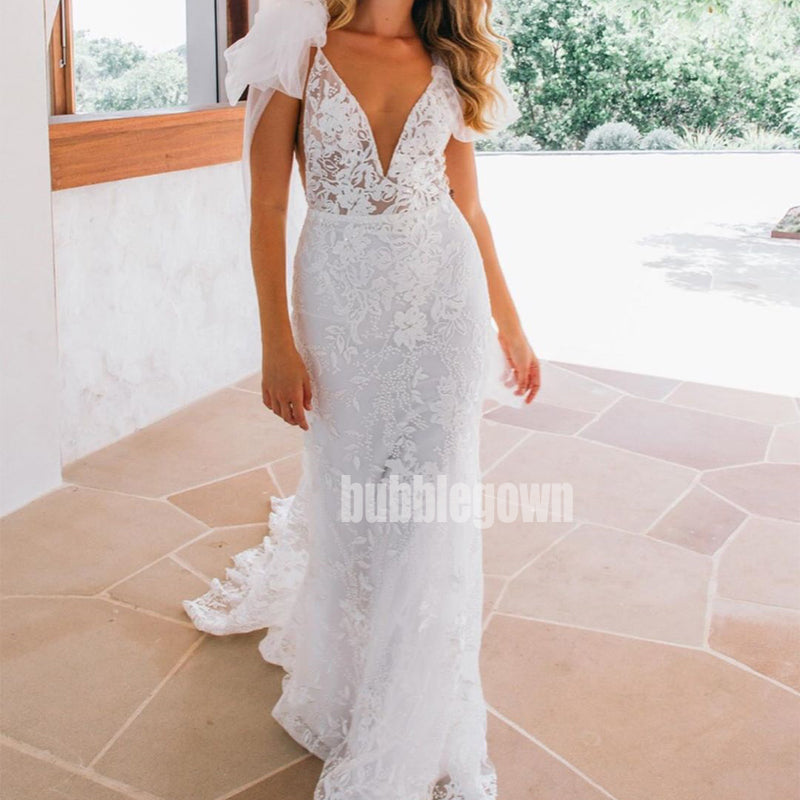 Sexy V-neck Mermaid Applique Lace Bridal Long Wedding Dresses, BGH013