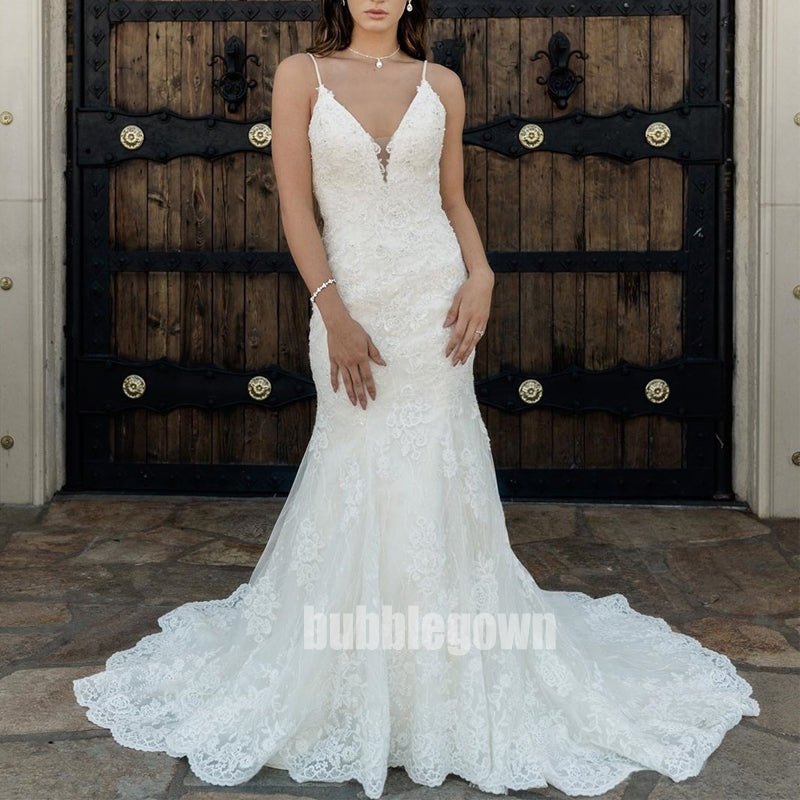 Elegant V-neck Spaghetti Strap Mermaid Lace White Long Wedding Dresses, BGH016