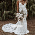 Charming V-neck Spaghetti Strap Mermaid Lace  Long Wedding Dresses, BGH017