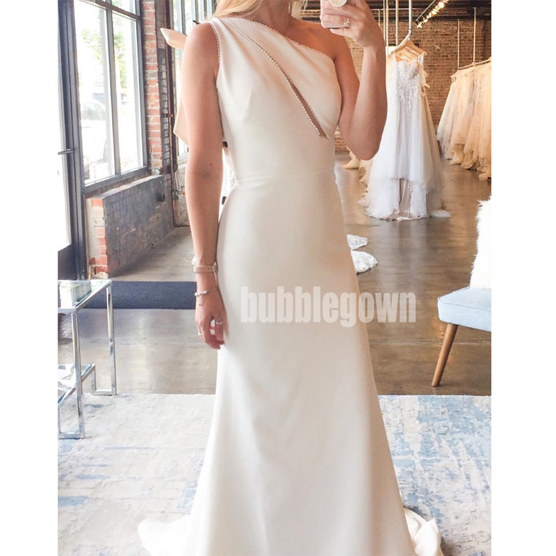 Elegant One-shoulder Mermaid Simple Long Wedding Dresses, BGH018