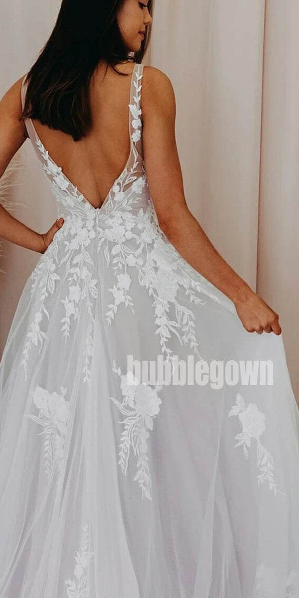 A-line Spaghetti Strap Tulle Long Wedding Dresses, BGH019