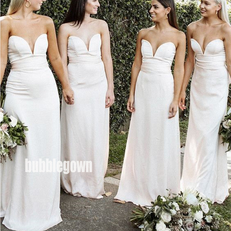 Simple Sweetheart Mermaid Long Bridesmaid Dresses  BMD037