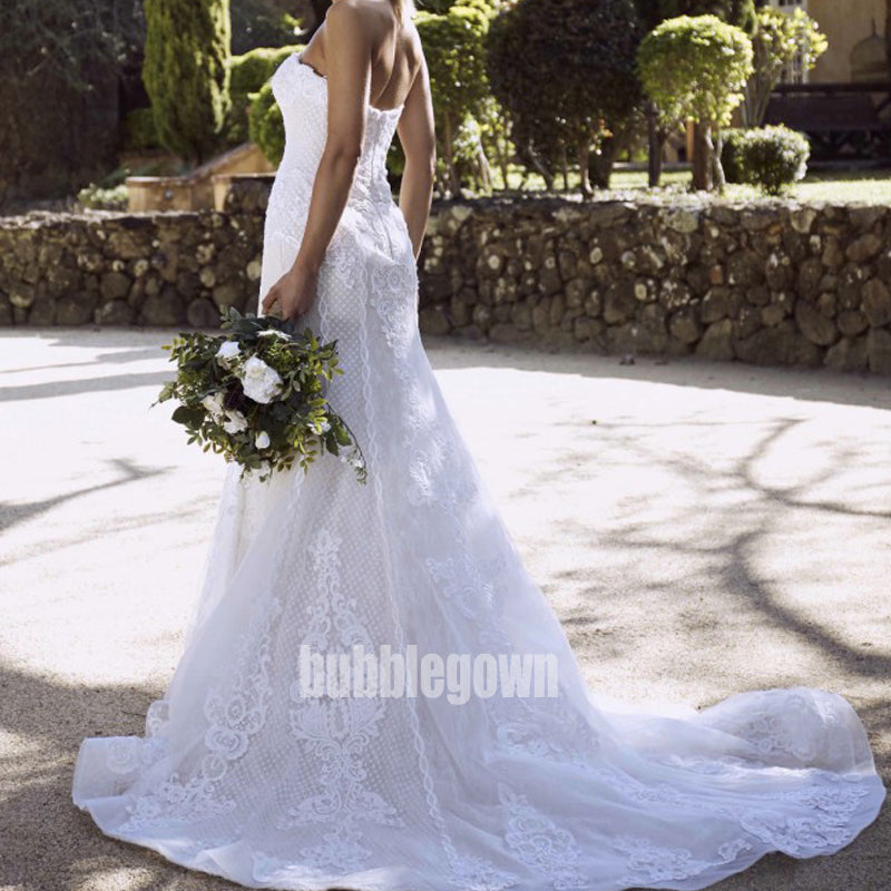 Elegant Sweetheart Mermaid Lace Long Wedding Dresses, BGH021