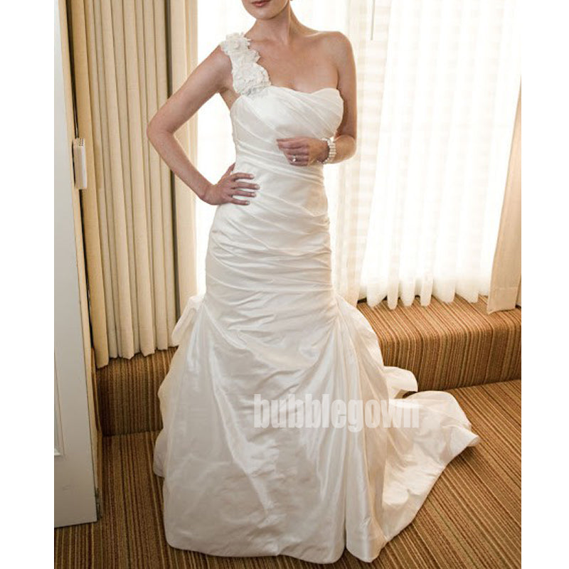 Unique One-shoulder Mermaid White Long Wedding Dresses, BGH022