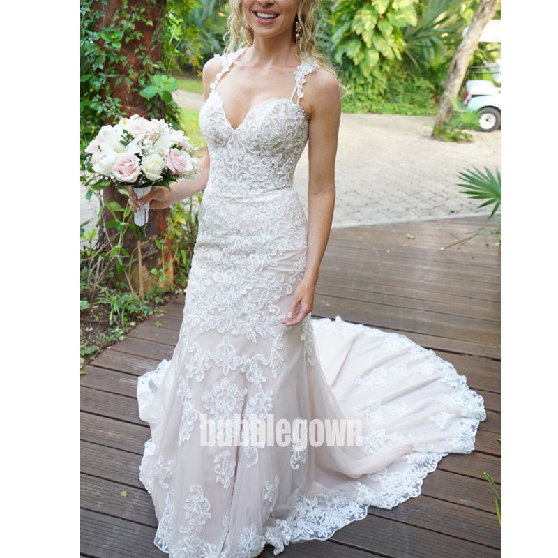 Gorgeous Lace Spaghetti Strap Mermaid  Long Wedding Dresses, BGH023