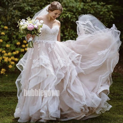 Beautiful Sweetheart A-line Princess Tulle Long Wedding Dresses, BGH024