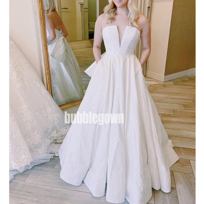 Elegant Sweetheart A-line Open Back Long Wedding Dresses, BGH025