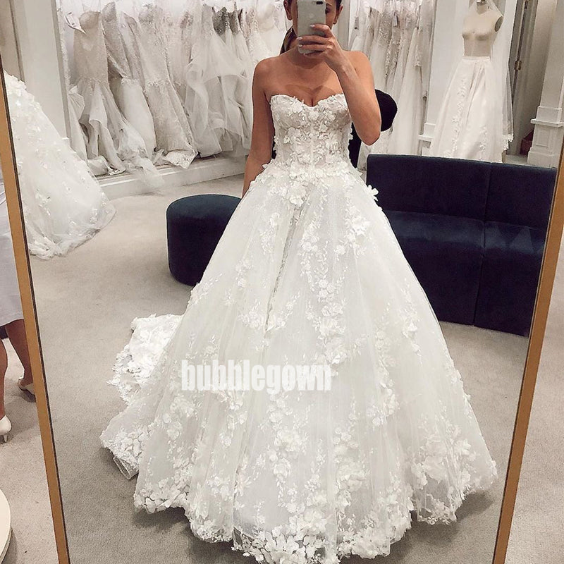 Elegant Sweetheart Floral Prints Lace Long Wedding Dresses, BGH028