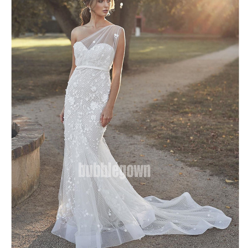 Unique White One-shoulder Mermaid Lace Long Wedding Dresses, BGH029