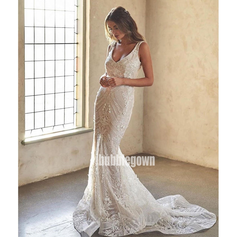 Sexy V-neck Spaghetti Strap Mermaid Lace Long Wedding Dresses, BGH030