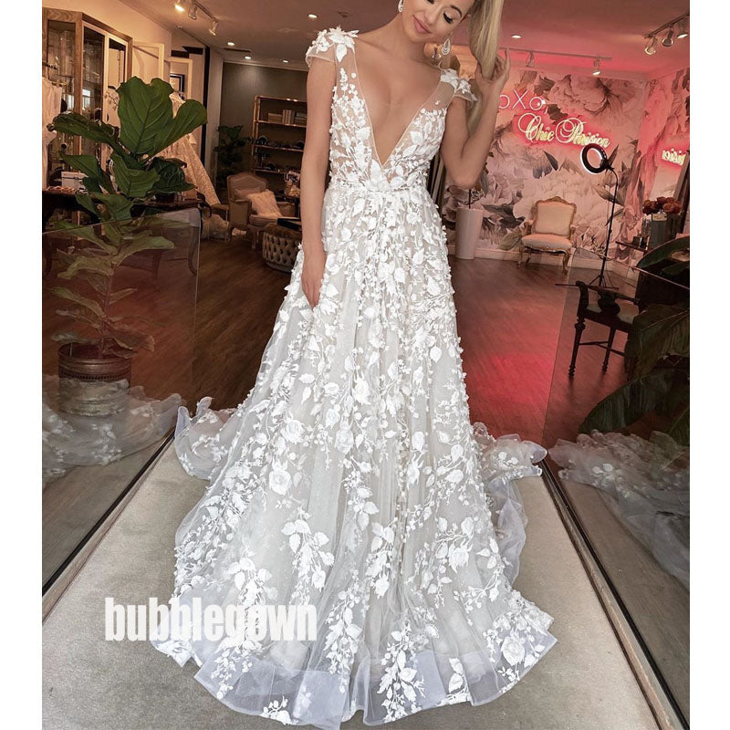 Sexy Deep V-neck Short Sleeve Applique Lace Long Wedding Dresses, BGH031