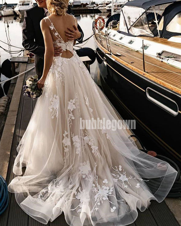 Elegant Flower Sleeveless  Applique Organza Long Wedding Dresses, BGH032