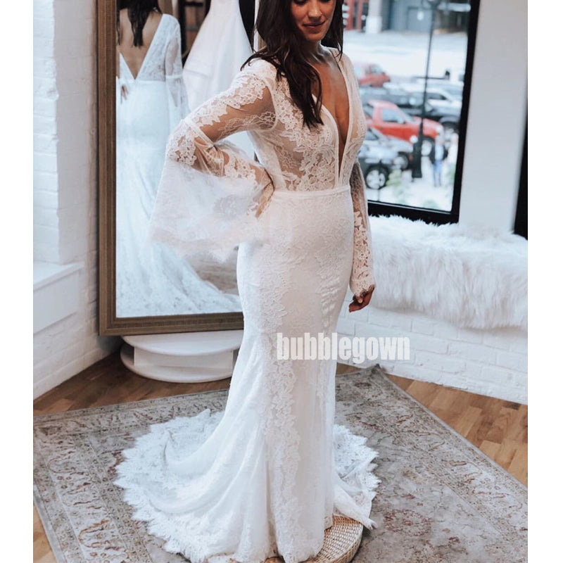 Deep V-neck Long Sleeves Mermaid Lace Dream Wedding Dresses, BGH034