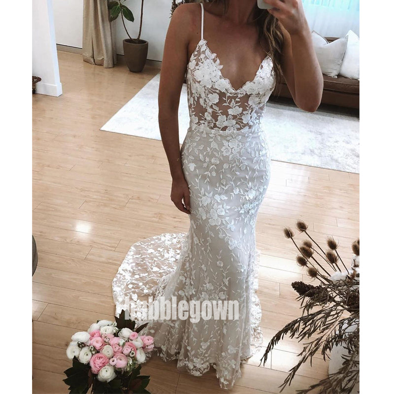 Pretty Flower Prints Spaghetti Strap Lace Long Wedding Dresses, BGH035