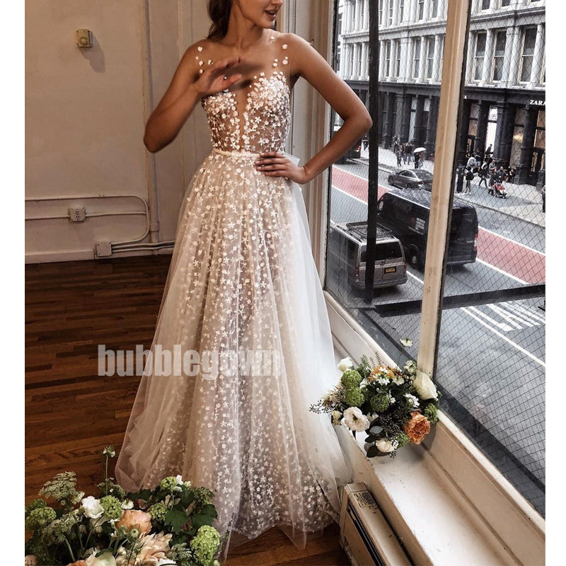 Unique Flower Prints Spaghetti Strap Applique Long Wedding Dresses, BGH036