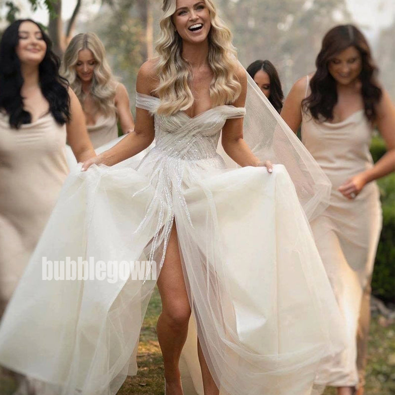 Pretty Off-the-Shoulder Split Side Dream Wedding Dresses, BGH037