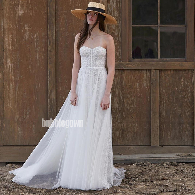 Elegant Swetheart A-line Tulle Dream Wedding Dresses, BGH040
