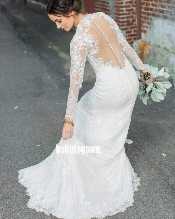 Elegant V-neck Long Sleeve Lace Dream Wedding Dresses, BGH041