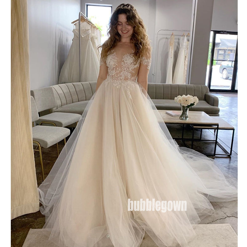 Elegant Off-shoulder See Through Tulle Dream Wedding Dresses, BGH043