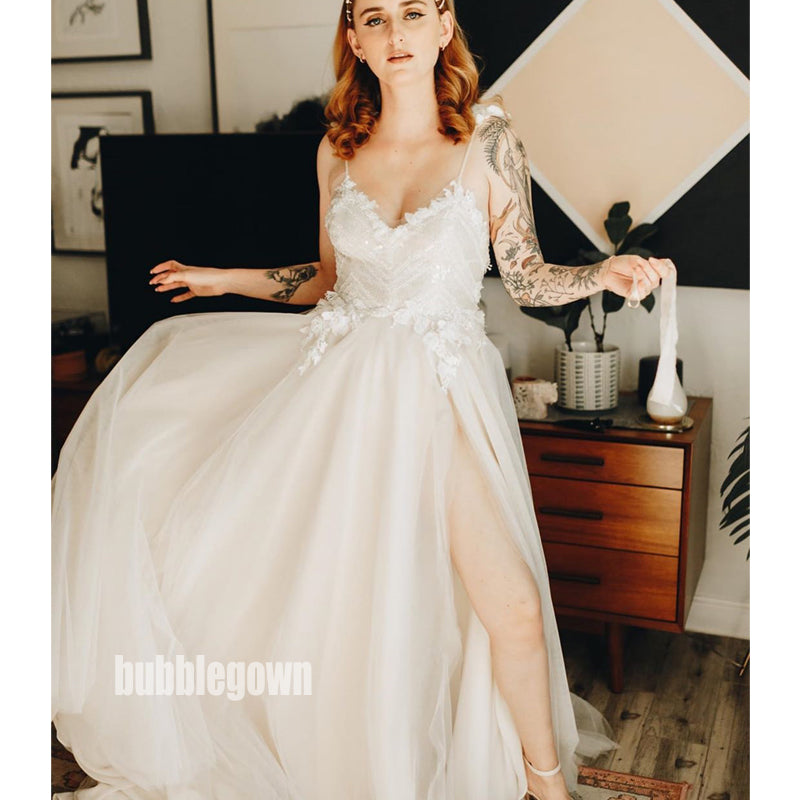 Sexy V-neck Spaghetti Strap Tulle Dream Wedding Dresses, BGH044