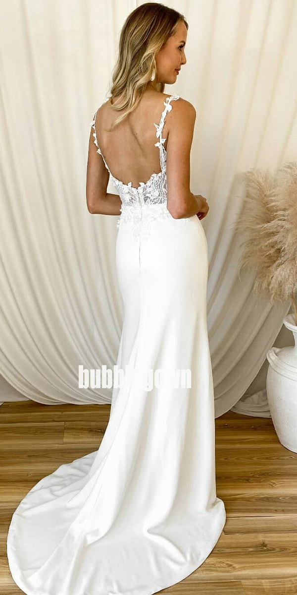 Pretty Open Back Spaghetti Strap Mermaid Dream Wedding Dresses, BGH049