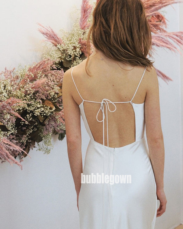 Unique Comfortable Spaghetti Strap Mermaid Dream Wedding Dresses, BGH051