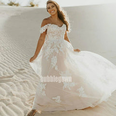 Elegant Sweetheart Off-shoulder Tulle Dream Wedding Dresses, BGH053