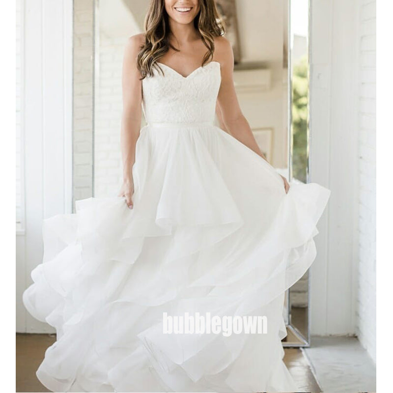 Elegant White Sweetheart Tulle Dream Wedding Dresses, BGH057