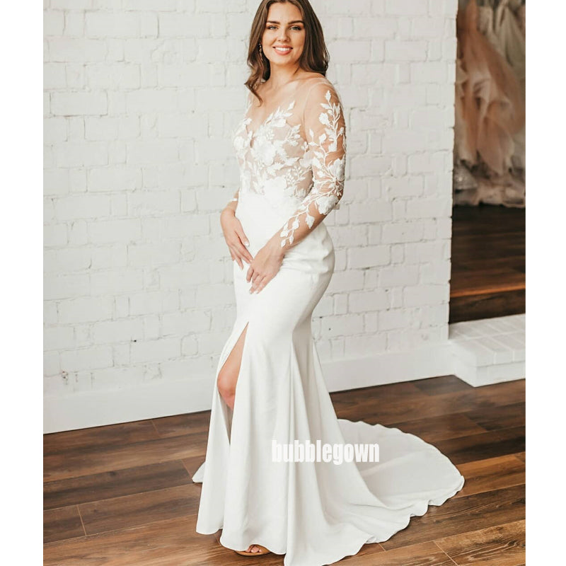 Elegant See Through Mermaid Split Side Dream Wedding Dresses, BGH059