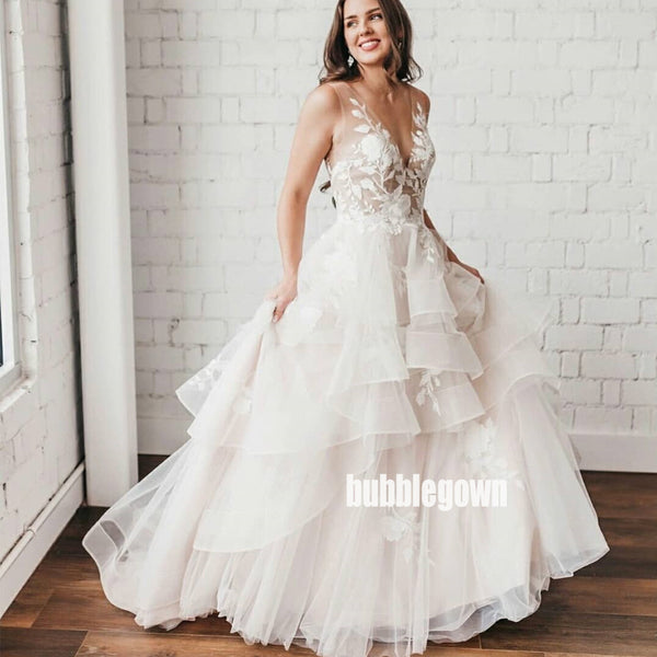 Elegant V-back A-line Tulle Dream Wedding Dresses, BGH060