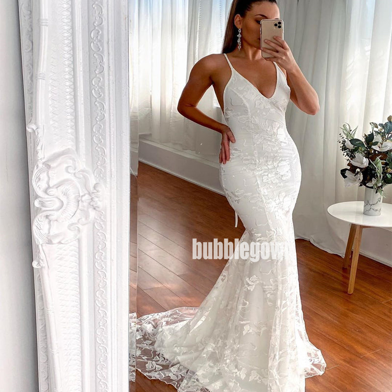 Sexy Spaghetti Strap Open-back Dream Wedding Dresses, BGH063