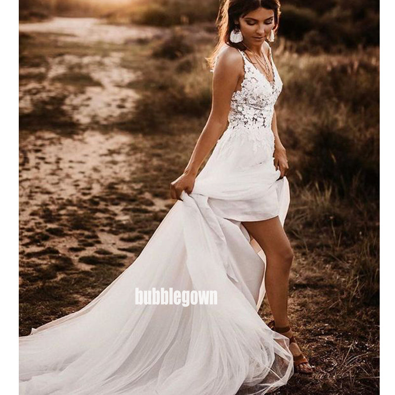 Sexy Spaghetti Strap Open-back Lace Long Wedding Dresses, BGH067