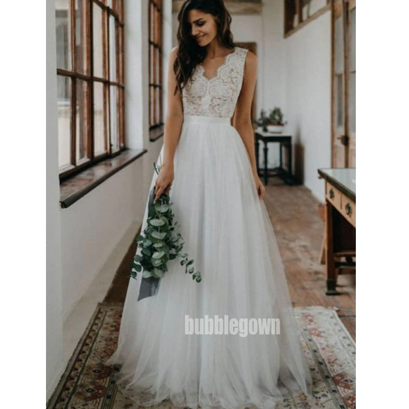 Elegant V-neck  Lace Top Tulle Long Wedding Dresses, BGH068