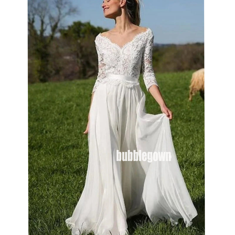Elegant V-neck Long Sleeve Tulle Long Wedding Dresses, BGH069