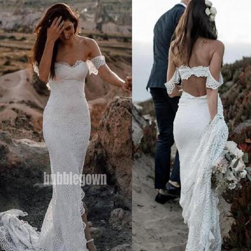 Charming Off-shoulder Mermaid Lace Wedding Dresses, BGH073