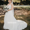 Elegant White V-neck Lace Long Wedding Dresses, BGH076