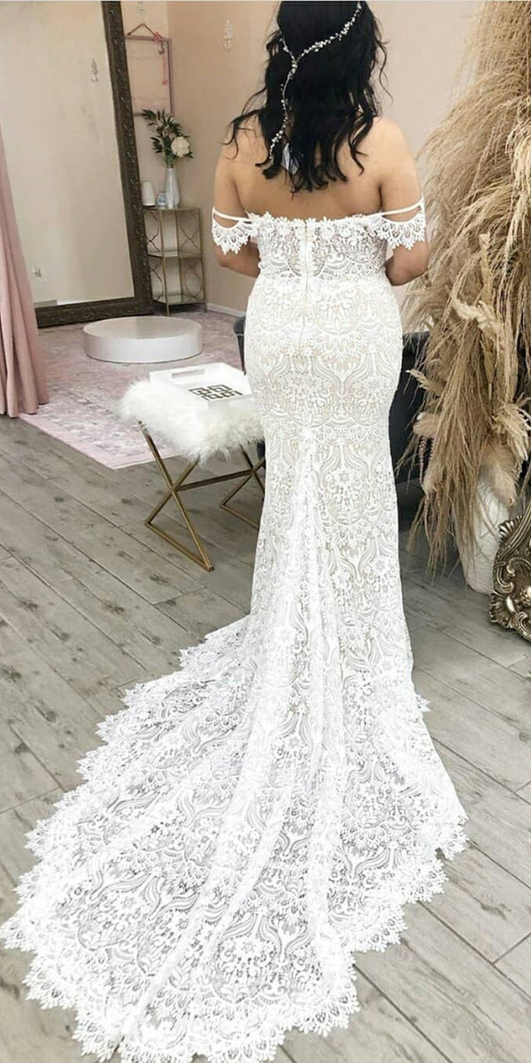 Sexy Off-shoulder Lace Long Wedding Dresses, BGH077