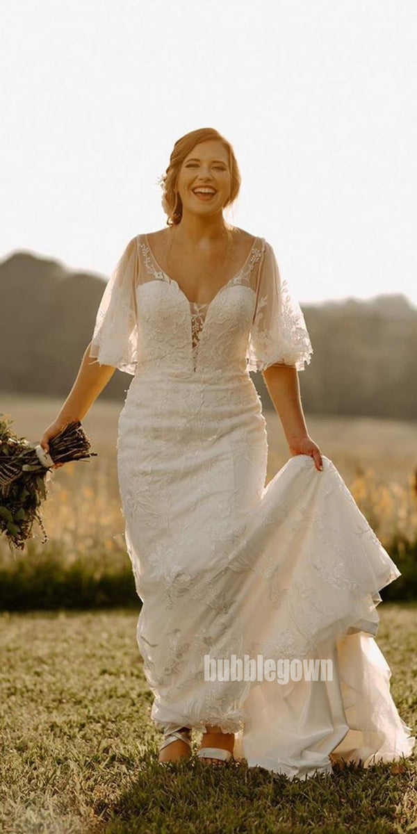 Elegant V-back Applique Tulle Long Wedding Dresses, BGH078