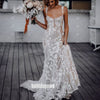 Elegant Spaghetti Strap Applique Tulle Long Wedding Dresses, BGH079