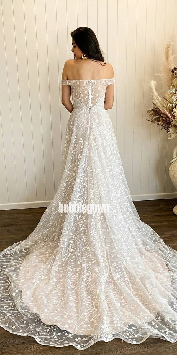 Elegant Off Shoulder Applique Tulle Long Wedding Dresses, BGH080