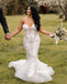 Elegant Sweetheart Applique Mermaid Lace Wedding Dresses, BGH086