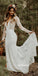 Elegant V-neck Long Sleeves Mermaid Lace Wedding Dresses, BGH087