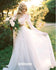 Two Piece Long Sleeve Top Lace Beach Bridal Dresses, BGH088