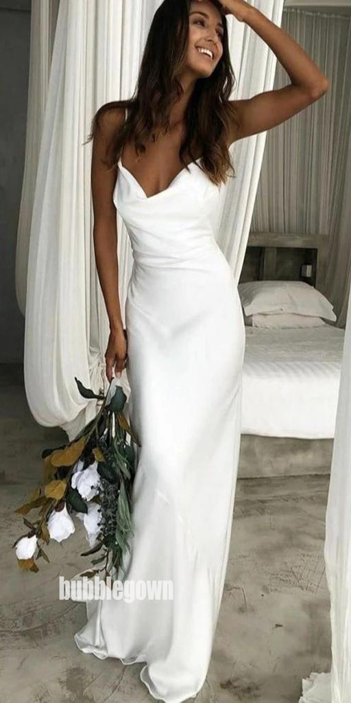 Elegant White Spaghetti Straps Long Wedding Dresses, BGH089