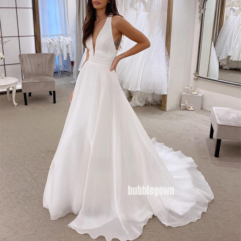 Charming White V-neck Chinffon Long Wedding Dresses, BGH090