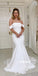 Pretty Off-shoulder White Mermaid Long Wedding Dresses, BGH094